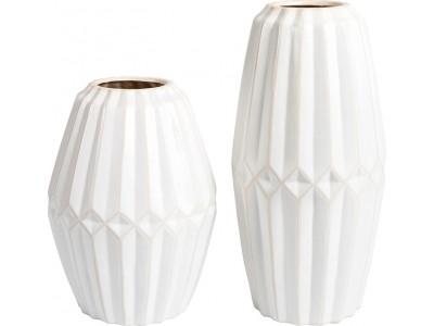 Wazon Ceramiczny Biały Prążki Wenecja B (prawy)