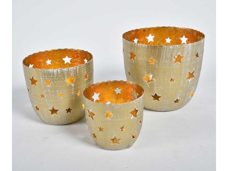 Lampiony Świąteczne Złote Gwiazdki Belldeco