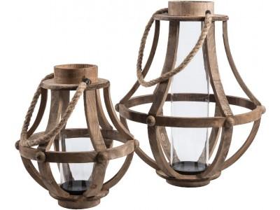 Lampion / Świecznik Drewniany Garden Pękaty B