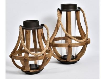 Lampion Drewniany Vintage Garden pękaty A
