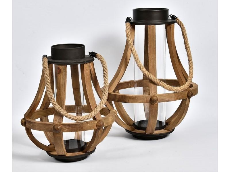 Lampion Drewniany Vintage Garden pękaty B