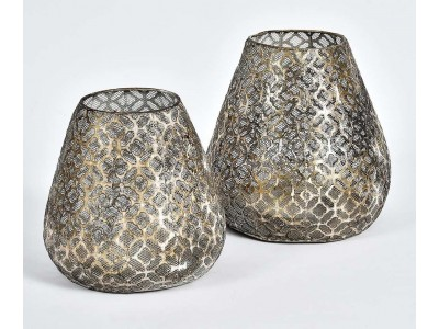 Lampion Ażurowy Świetlik Grigio Old 2A