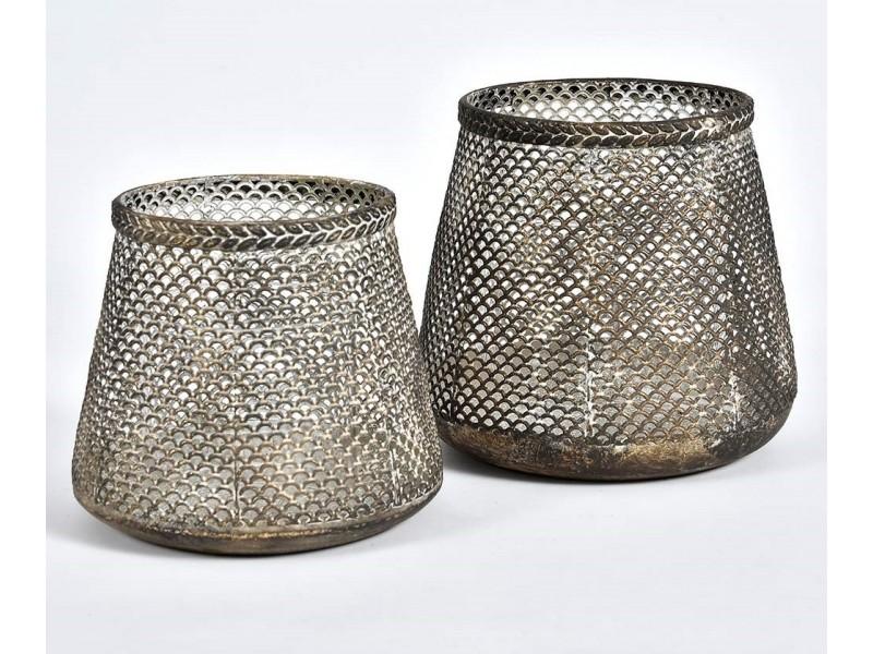 Lampion Ażurowy Świetlik Grigio Old 1A