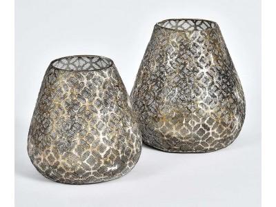 Lampion Ażurowy Świetlik Grigio Old 2B