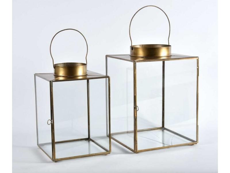 Lampion Metalowy Szklany Gold line 1C