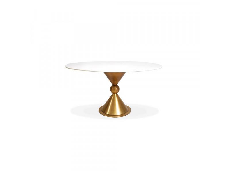 Stół okrągły z kulą gold/white