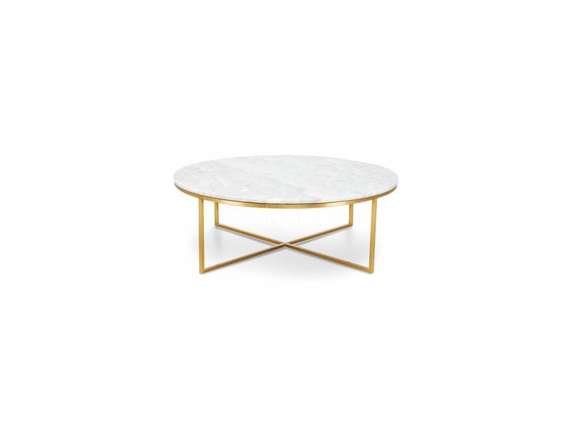 Stolik kawowy okrągły Pelio gold/white
