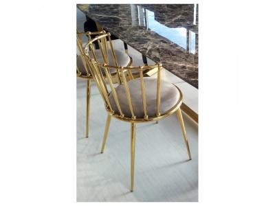 Krzesło jadalniane Glamour Celano gold/brown