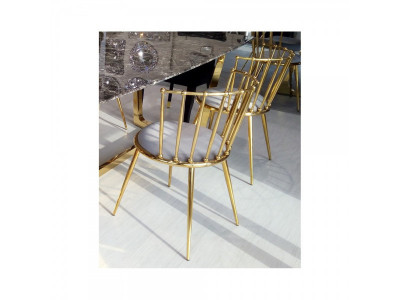 Krzesło jadalniane Glamour Celano gold/grey