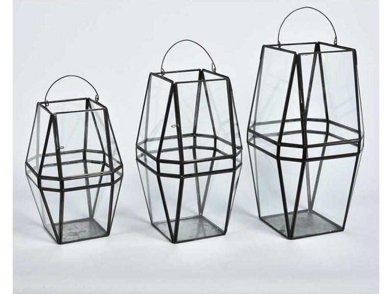 Lampion Metalowy Szklany Loft Nero 3A