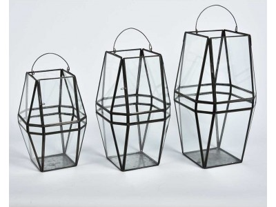 Lampion Metalowy Szklany Loft Nero 3C