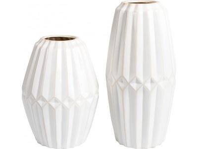 Wazon Ceramiczny Biały Prążki Wenecja A (lewy)