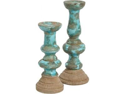 Świecznik Ceramiczny Vintage Azzurro Old 2