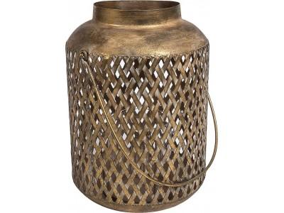 Lampion Ażurowy Metalowy Gold Line P